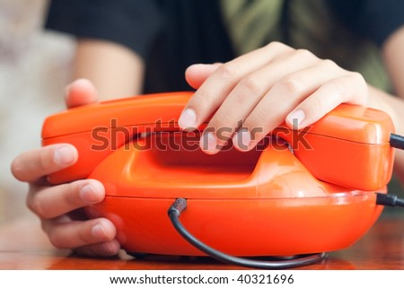 hands whith phones. isolatedd on white. selective focus - stock photo
