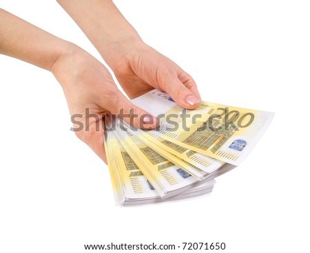 Hands with a bundle of banknotes two hundred euros - stock photo