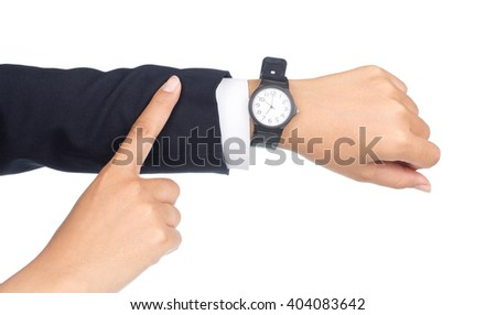 hands with a clock isolated on white background - stock photo
