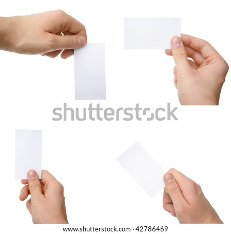 hands with blank cards