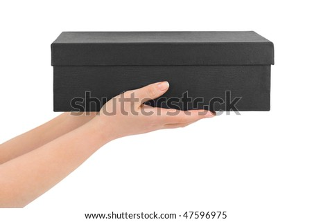 Hands with box isolated on white background - stock photo