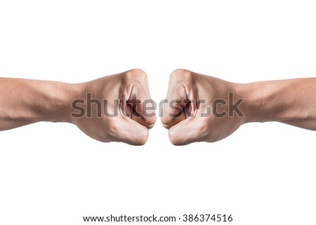 Hands with clenched a fist, isolated on a white background - stock photo