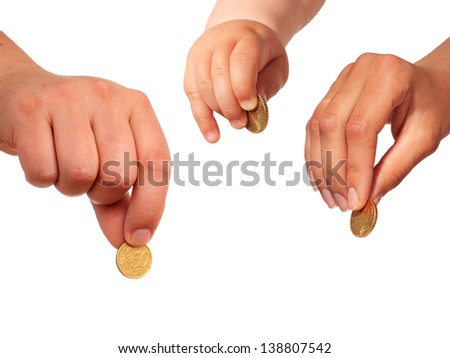 Hands with coins isolated over white. - stock photo