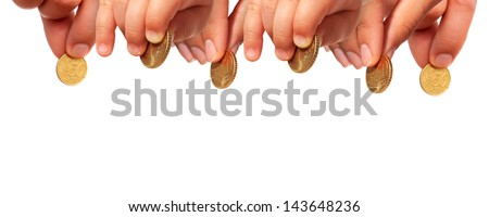 Hands with coins isolated over white.