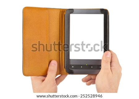 Hands with E-book reader isolated on white background