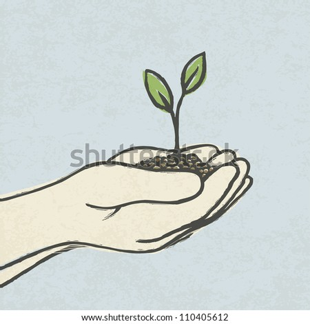 Hands with green sprout and dirt heap. Hand-drawn. Raster version, vector file available in portfolio.