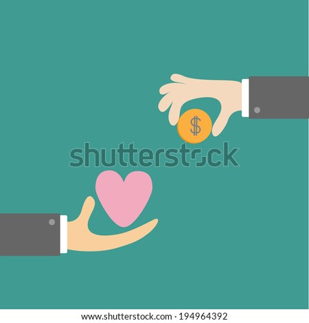 Hands with heart and money dollar coin. Exchanging concept. Flat design style. Rasterized copy - stock photo