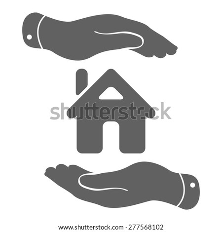 hands with home icon - protecting house illustration - stock photo