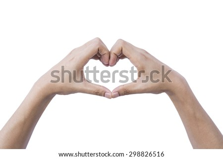 Hands with LOVE Signal Heart Shape. - stock photo