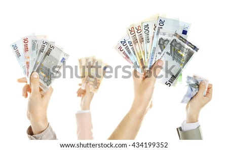 Hands with money isolated on white - stock photo