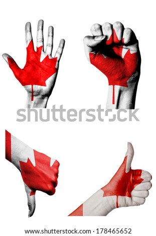 hands with multiple gestures (open palm, closed fist, thumbs up and down) with Canada flag painted isolated on white - stock photo