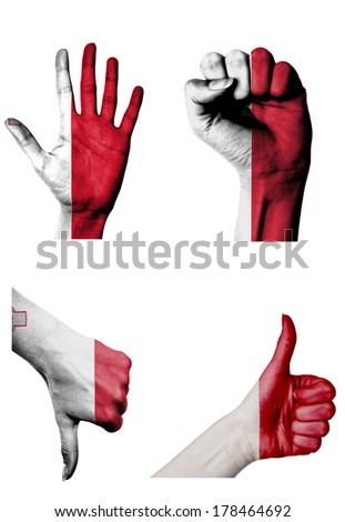 hands with multiple gestures (open palm, closed fist, thumbs up and down) with Malta flag painted isolated on white