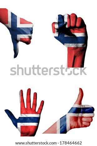 hands with multiple gestures (open palm, closed fist, thumbs up and down) with Norway flag painted isolated on white - stock photo