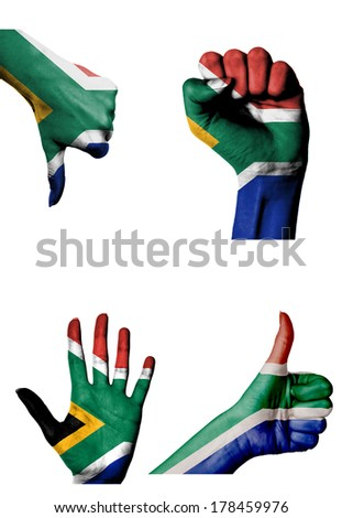 hands with multiple gestures (open palm, closed fist, thumbs up and down) with South Africa flag painted isolated on white