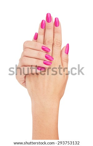 Hands with nail red manicure isolated on white background - stock photo