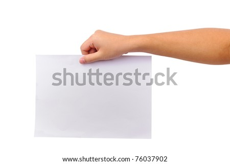 hands with paper isolated on white
