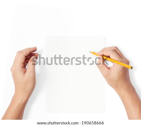 hands with pencil writting something  - stock photo
