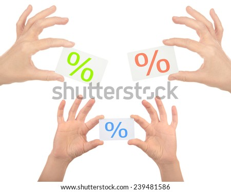 hands with plastic white card isolated on white background