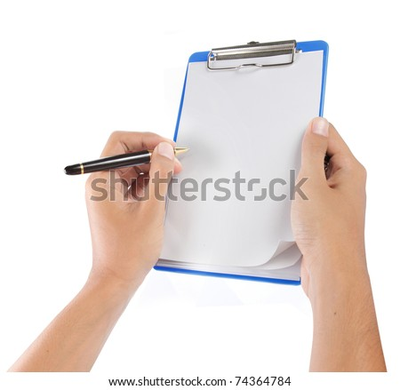 hands with sheet of paper and pen on clipboard isolated over white
