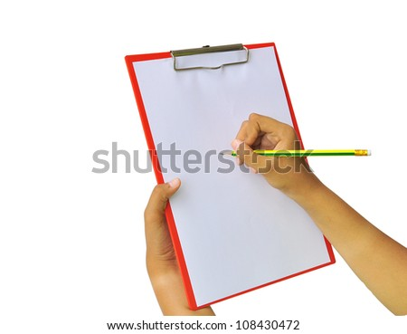 hands with sheet of paper and pencil on clipboard isolated on white background - stock photo