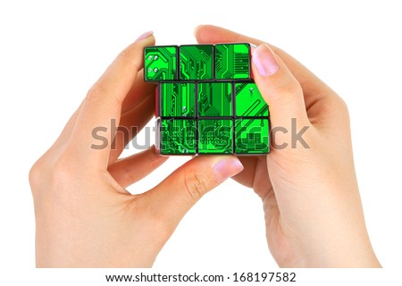 Hands with technology puzzle isolated on white background - stock photo