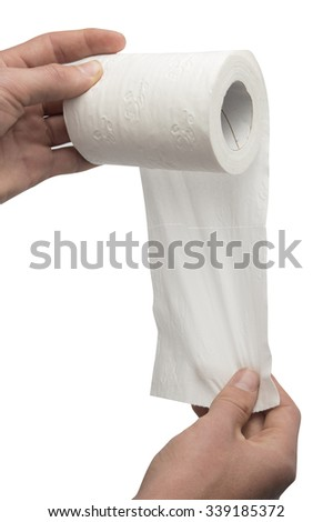 Hands with toilet paper roll - stock photo