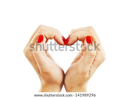 Hands with woman's professional red nails manicure.  Isolated on white background - stock photo