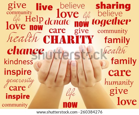 Hands with word Charity on color background - stock photo