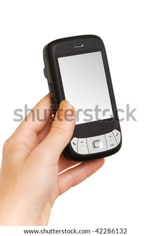 Hands working on a smartphone isolated on white