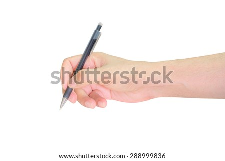 Hands writing with pen over paper isolated on white background