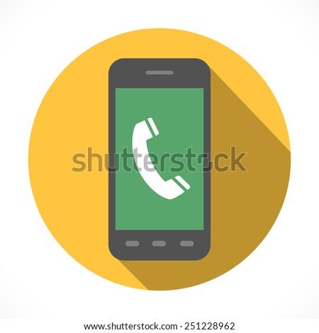 Handset sign on smart phone screen. Modern phone—communication device with telephone, internet browsing and multimedia functions. Flat Design collection. Phone with long shadow. Ringing phone concept - stock photo
