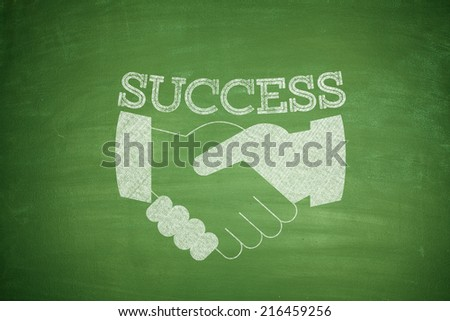 Handshake abstract with green background green hands - stock photo