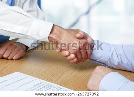 Handshake, Agreement, Discussion. - stock photo