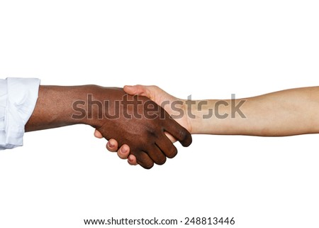 Handshake between african and a caucasian man against white background