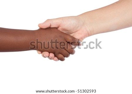 Handshake between an African-American and Caucasian isolated on white background - stock photo