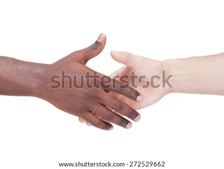Handshake between caucasian and african man, isolated on white background - stock photo