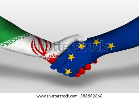Handshake between european union and iran flags painted on hands, illustration with clipping path.