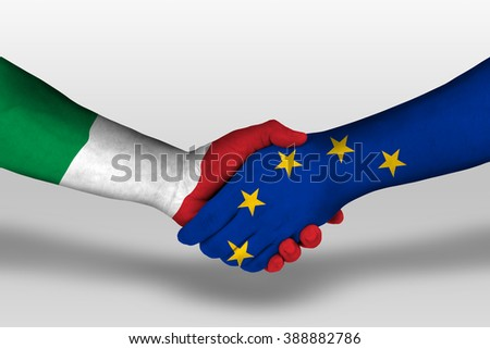 Handshake between european union and italy flags painted on hands, illustration with clipping path. - stock photo