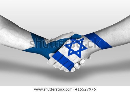 Handshake between israel and finland flags painted on hands, illustration with clipping path.