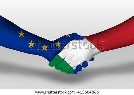Handshake between italy and european union flags painted on hands, illustration with clipping path. - stock photo