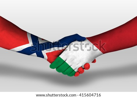 Handshake between italy and norway flags painted on hands, illustration with clipping path. - stock photo