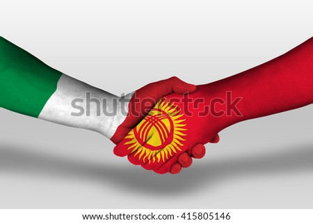 Handshake between kyrgyzstan and italy flags painted on hands, illustration with clipping path. - stock photo