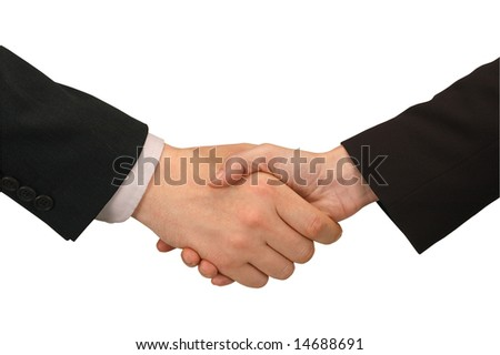 handshake between man and woman in business suits - stock photo