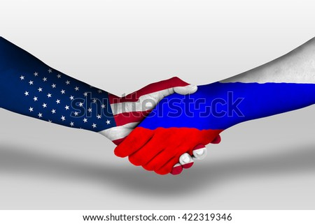 Handshake between russia and united states of america flags painted on hands, illustration with clipping path.