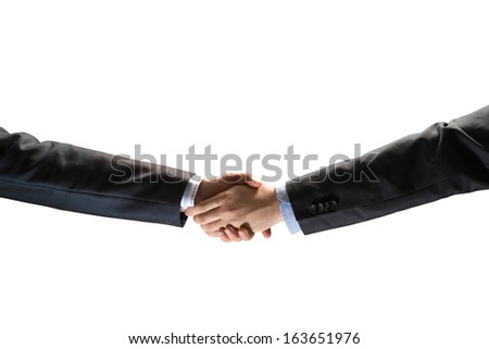 handshake between two businessmen, isolated on white background