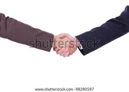 Handshake between two businessmen  isolated on white background
