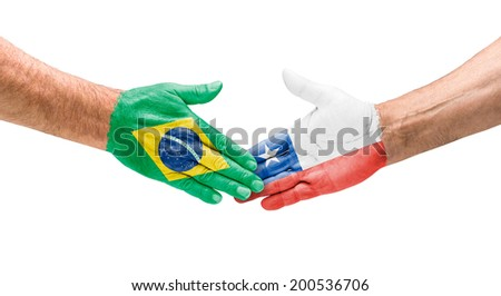 Handshake Brazil and Chile - stock photo