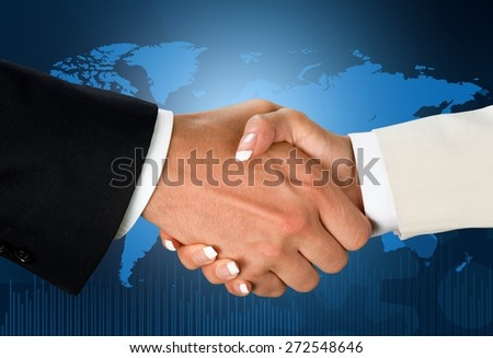 Handshake, Business, Global Business. - stock photo
