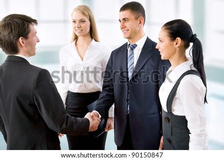 Handshake business people before the meeting - stock photo