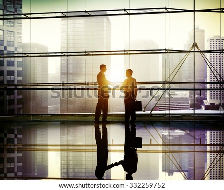 Handshake Business People Team Support Meeting Conference Concept - stock photo